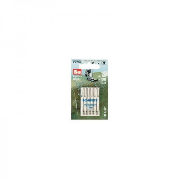 Nähmaschinennadeln Topstitch/Metallic Stärke 80-100 silberfarbig 5 St